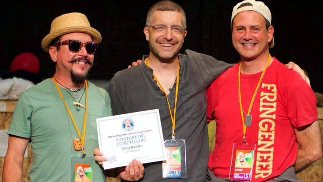 From left are Randy Granger, of Las Cruces, Algernon D'Ammassa, of Deming, and San Diego Fringe President Kevin Charles Patterson at the festival's closing night awards ceremony, July 2.