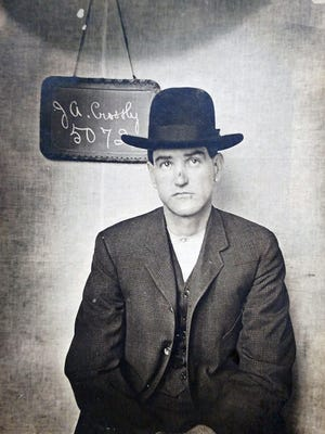 Mugshot of J.A. Crossley after his first arrest in 1905. His M.O. as a bank robber was to blow up the safe, take the money and escape on a railroad handcar.