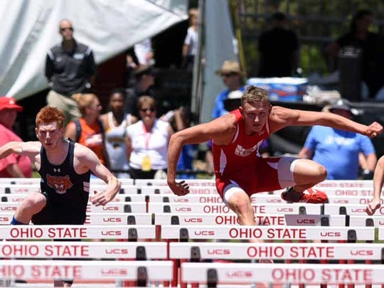 Sheridan's Ethan Tabor runs in the boys 110-meter hurdles Friday, June 2, 2017, at the state track and field championship at Jesse Owens Stadium in Columbus.