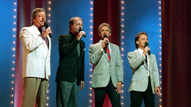 Country music singing group The Statler Brothers perform June 5,1989 at the 23rd annual Music City News Country Awards show in Nashville, Tenn. From left, are: Harold Reid, Don Reid, Phil Balsley and Jimmy Fortune.