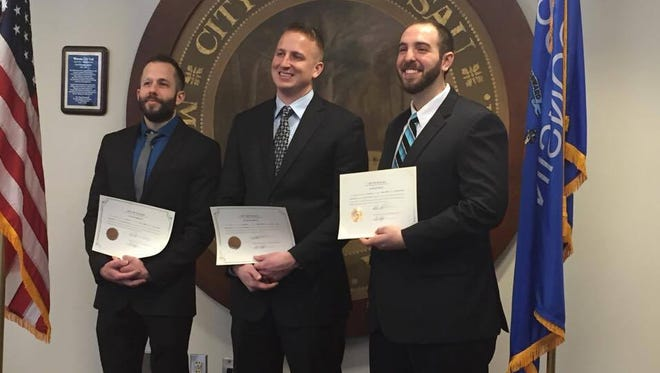 Michael Horejs, left, Jordan Gaiche, middle and Christopher Piasecki, right, are the Wausau Police Department newest officers.
