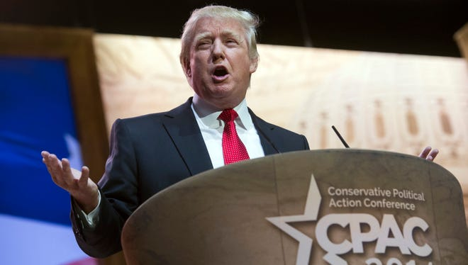 Donald Trump addresses the Conservative Political Action Committee annual conference in National Harbor, Md., Thursday, March 6, 2014.