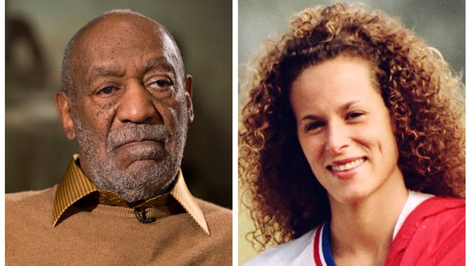 FILE - In this combination of file photos, entertainer Bill Cosby pauses during an interview in Washington on Nov. 6, 2014, and Andrea Constand poses for a photo in Toronto on Aug. 1, 1987. Cosby was charged Wednesday, Dec. 30, 2015, with drugging and sexually assaulting Constand at his home in January 2004. They are the first criminal charges brought against the comedian out of the torrent of allegations that destroyed his good-guy image as America's Dad.