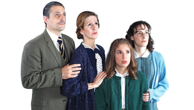 "Jonas Cohen, Raissa Dorff, Danielle Carlucci and Sarah Stevens play the Frank family in ""The Diary of Anne Frank,"" opening Sept. 8 at Flat Rock Playhouse."