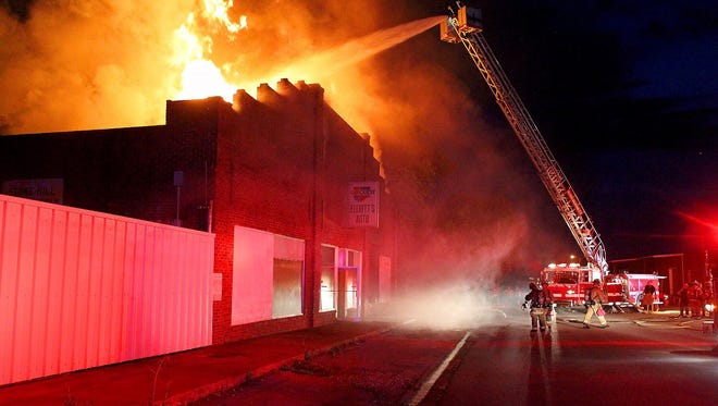 The Burkburnett Volunteer Fire Department battled a blaze Tuesday night that destroyed the Elliott's Auto building in downtown Burkburnett. Several area fire departments assisted on the fire.