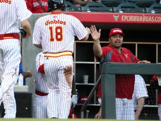 El Paso Chihuahuas manager Rod Barajas greets Shane