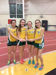The girls track and field relay team of Lauren Augustynowicz, Caroline Puhl, Kacey Tramont, and Sarah Donaldson broke the school record in the distance medley relay.