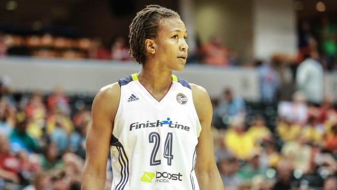 Number 24, Tamika Catchings reacts to a foul called on her which was disputed by team mates and coaching staff, during the Indiana Fever VS. the Seattle Storm game at Bankers Life Fieldhouse, Wednesday July 8th, 2015.