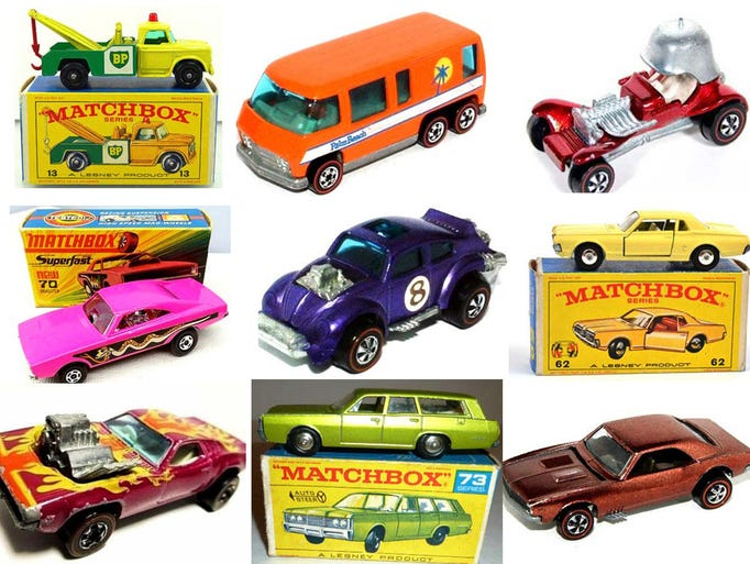 A gallery of 12 collectible Hot Wheels and Matchbox