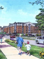 A conceptual drawing of a mixed-use development proposed