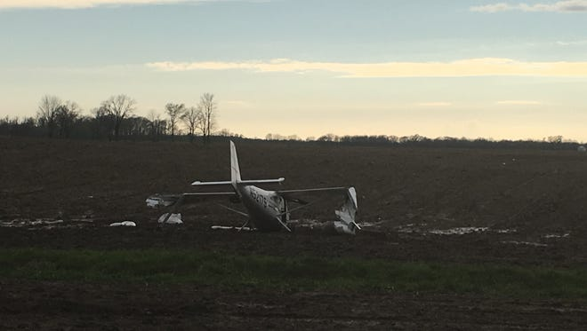 Photo of plane crash near the Indianapolis Executive Airport in Zionsville on April 21, 2016.