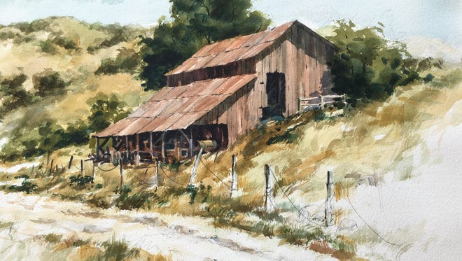 """""""Foothill Barn,"""" watercolor by Norman Kirk."""