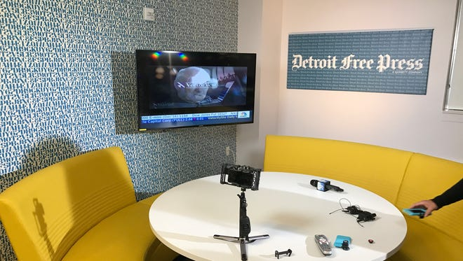 Our Facebook Live studio for Election Night inside the Detroit Free Press newsroom.