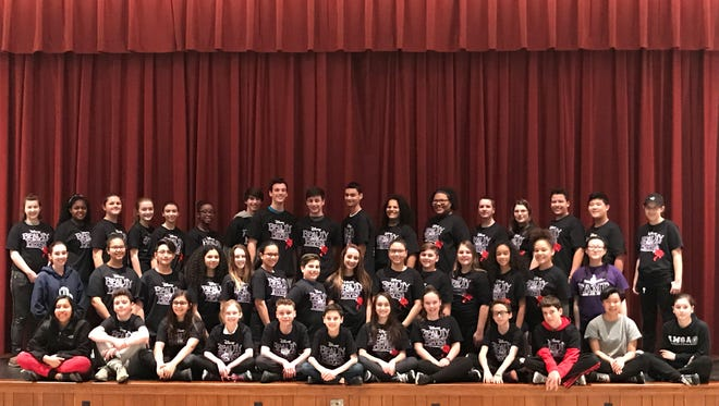"Members of the Vineland All-Middle School Production Company take a break from rehearsals for their production of ""Beauty and the Beast Jr."" for a photo. The show opens at 7 p.m. March 2."