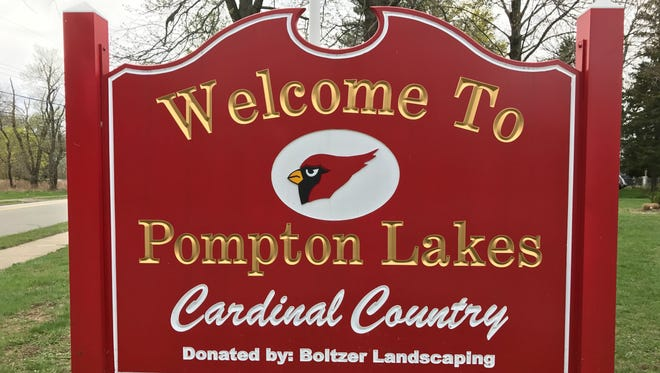 A Pompton Lakes welcome sign.