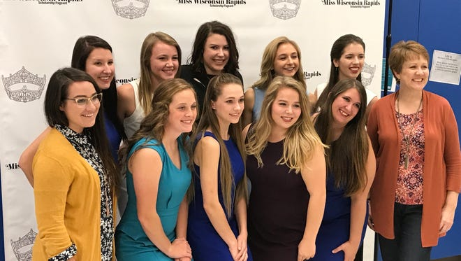 Contestants pose with Miss Wisconsin Rapids Area Scholarship Pageant directors, Katie Tomsyck and Joanne Wayne.