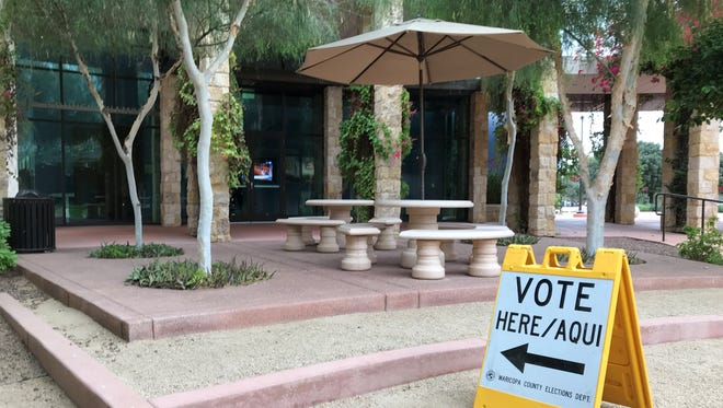A sign directing Surprise voters to the ballot box.