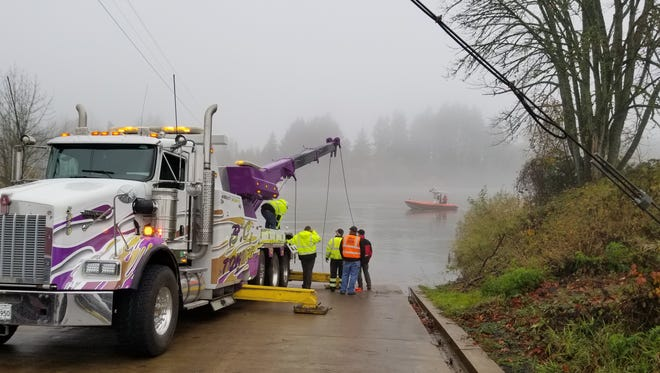 A ferry boat operator located a vehicle submerged in the Willamette River on Tuesday, Nov. 21, 2017.