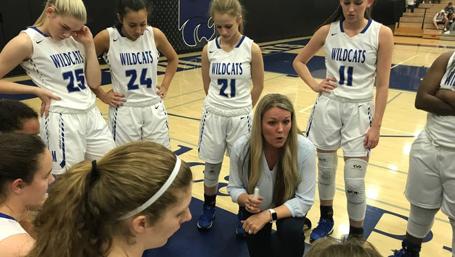 Mesquite head coach Candice Gonzales talks to her team during a first-quarter timeout against Xavier Prep on Jan. 12, 2018.