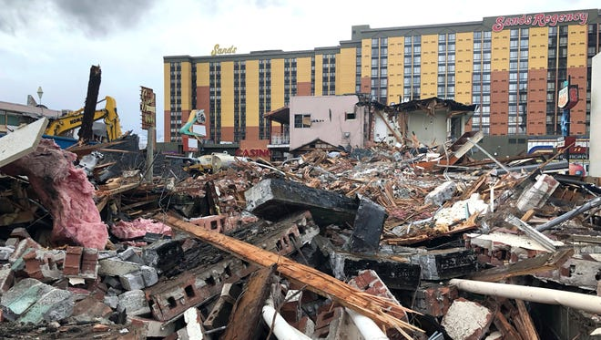 The demolition of the El Ray, Keno and Star of Reno motels on Arlington Avenue and Fourth Street March 21, 2018. The motels are being demolished as part of an unknown redevelopment started by Jacobs Entertainment development company.