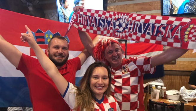 Croatia fans celebrate the World Cup on July 15, 2018.