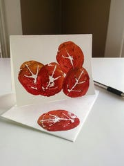 Create colorful fall cards with potato prints.