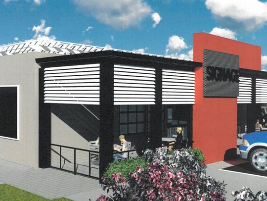 A rendering of the new Sami's Pizza & Grill, located