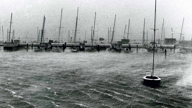 Celia was just starting to build up when this picture was taken of sail boats at mooring in the marina in 1970.