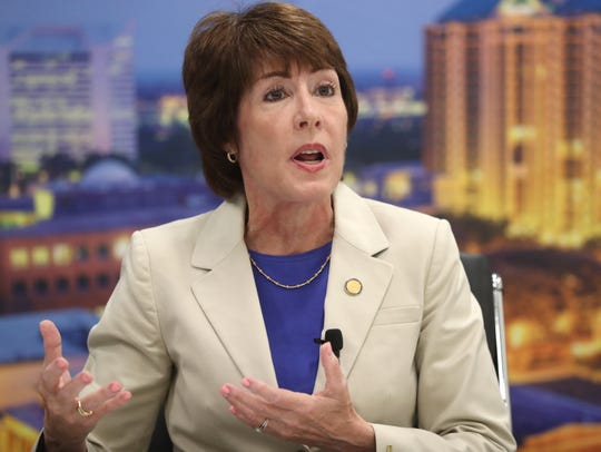 Gubernatorial candidate Gwen Graham speaks with the