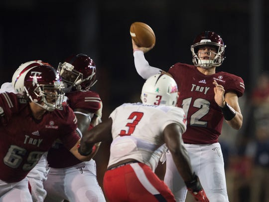 Troy quarterback Brandon Silvers throws a pass during