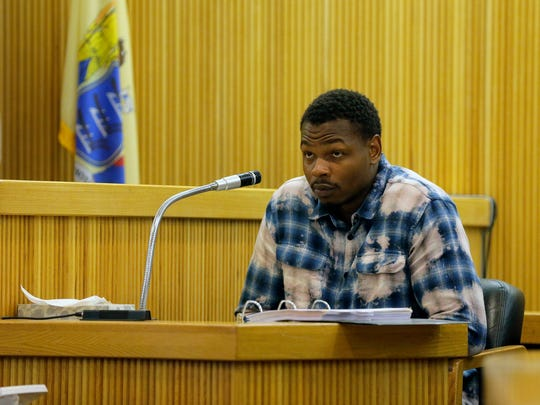 "Witness Kyre Wallace of Asbury Park testifies during the  ""Operation Dead End'' trial of Keith German, James Fair and Haneef Walker before Superior Court Judge Joseph W. Oxley at Monmouth County Courthouse in Freehold, NJ Wednesday, June 28, 2017."