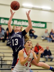 Dallastown's Julia Sutton shoots against Susquehannock's