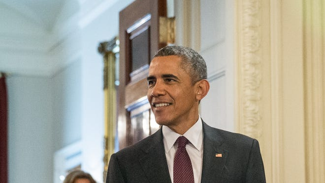 President Obama arrives to speak with top innovators and startup founders from across the country for the first White House Demo Day Aug. 4.
