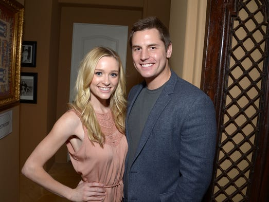 Actress Greer Grammer (L) and Tyler Konney attend ASPCA's