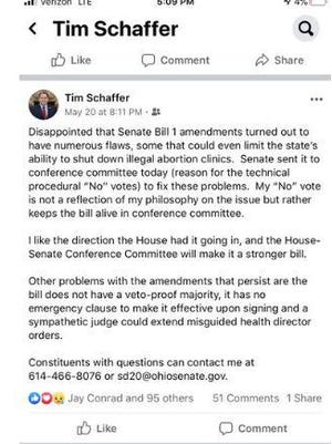 The Facebook post of state Sen. Tim Schaffer, R-Lancaster, that set off House Speaker Larry Householder.