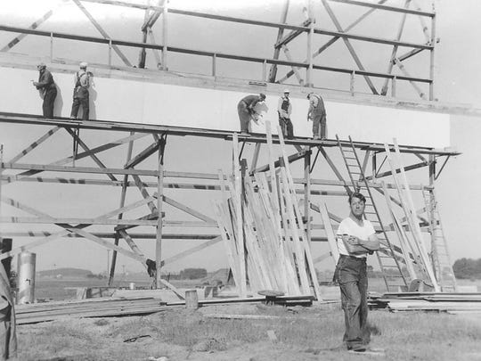 Early construction image at the Star Dusk Outdoor, Quasius Construction Company built the screen, etc. Sheboygan Press photo