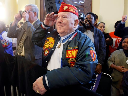 Medal of Honor recipient Jack Lucas is pictured in this March 7, 2008, file photo at an event at Hattiesburg Train Depot.
