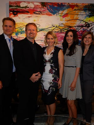 L-R President of the Olive Crest Board of Trustees Rob Zwemmer, Rapport Furniture owner Peter Skaaning, upcoming event co-chairs Nicole Rixon and Kristen Shalhoub, and Olive Crest's executive director Tracy Fitzsimmons.