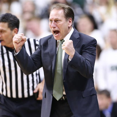 Michigan State Spartans coach Tom Izzo reacts during
