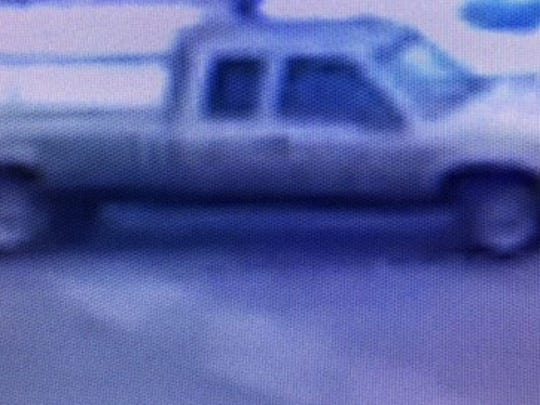Muncie police said this truck, shown in surveillance video, apparently belongs to a man who has been touching female shopper's hair in local stores.