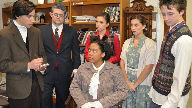 """CCS actors rehearse a scene from """"The Mousetrap!"""""""
