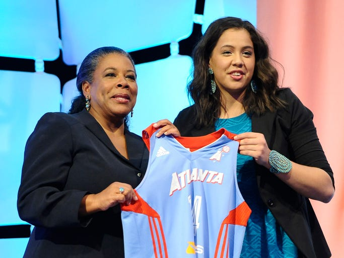 Louisville's Shoni Schimmel holds up an Atlanta Dream jersey with WNBA president Laurel J. Richie after Atlanta selected Schimmel as the No. 8 pick in the WNBA basketball draft in, Monday, April 14, 2014, in Uncasville, Conn. (AP Photo/Jessica Hill)