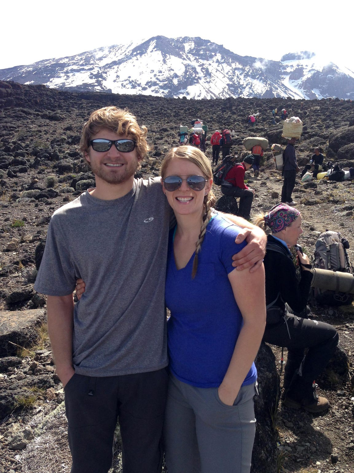 Tommy and Alison Fountain are photographed on Mount Kilimanjaro on Jan. 26, 2013 in Tanzania.