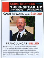In 2016, Crime Stoppers of Michigan produced an informational flyer on murder victim Frano Juncaj, former co-owner of the Detroit Coney Island.