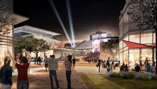 An artist rendering of the finished Arena District, an ambitious project within Tallahassee's urban core that will include a convention center, hotel, Florida State University's College of Business, the Tucker Civic Center and more.