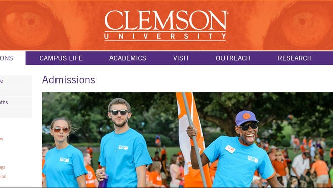Screenshot of Clemson University's admissions page.