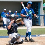 FGCU's Nick Rivera reacts to a called strike against the University of North Florida on Saturday at Swanson Stadium at FGCU. UNF beat FGCU 8-2.