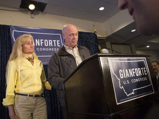 Republican Greg Gianforte speaks to supporters after being declared the winner at a election night party for Montana's special House election against Democrat Rob Quist at the Hilton Garden Inn on May 25, 2017 in Bozeman, Montana.