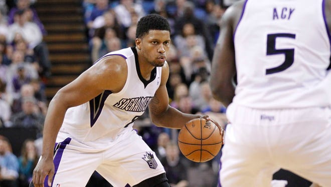 Sacramento Kings forward Rudy Gay (8) has had more efficient numbers since being traded from Toronto.