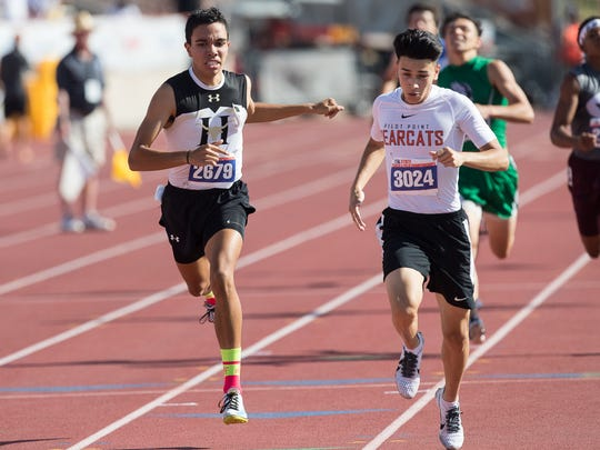 Hebbronville's Eric Rodriguez competes in the boys 3A 800 meter run during the UIL State Track and Field meet at Mike A Myers Stadium in Austin Texas on Friday, May 11, 2018.